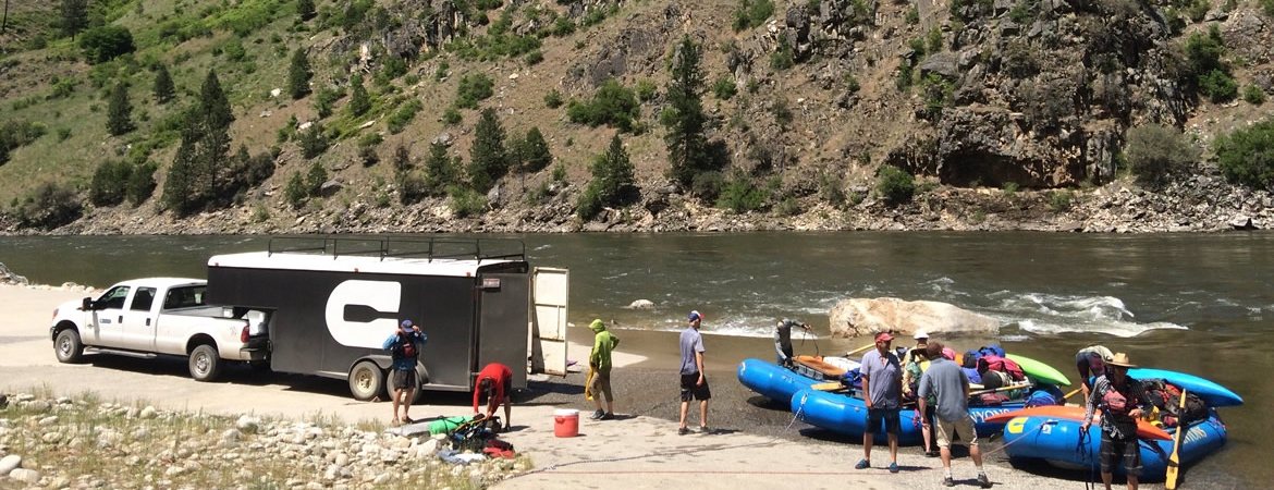 logistics Canyons truck and trailer at Carey Creek takeout on the Main Salmon River in Idaho