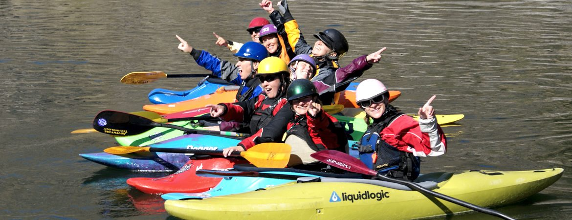 Womens adventure kayaking on the salmon river in idaho